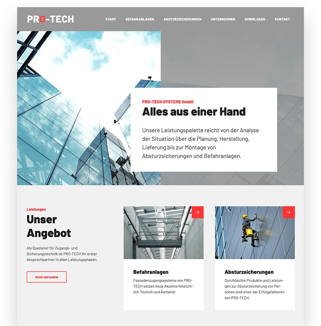 PRO-TECH Systeme Website